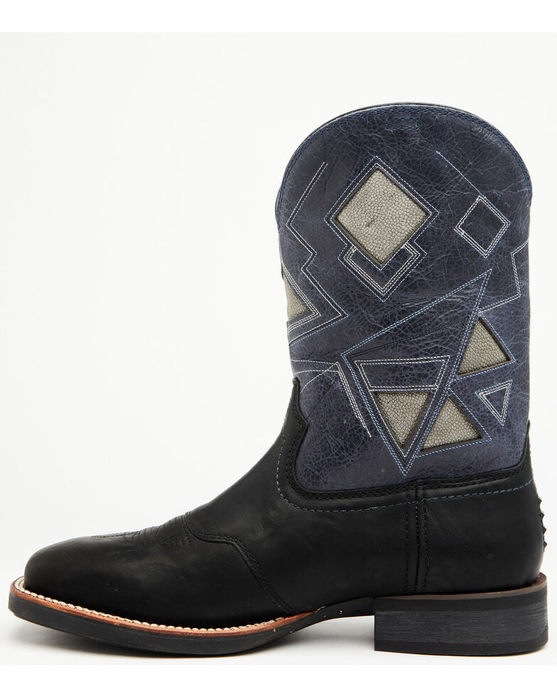 Cody James Men's Durance Black Western Boots - Wide Square Toe, Black/blue, hi-res