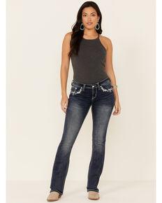 Grace in LA Women's Horseshoe Bootcut Jeans, Dark Blue, hi-res