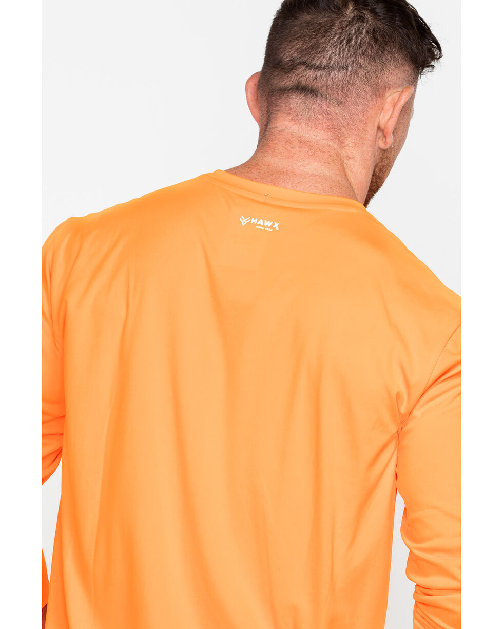 Hawx® Men's Long Sleeve Color-Enhanced Cooling Work Tee , Orange, hi-res