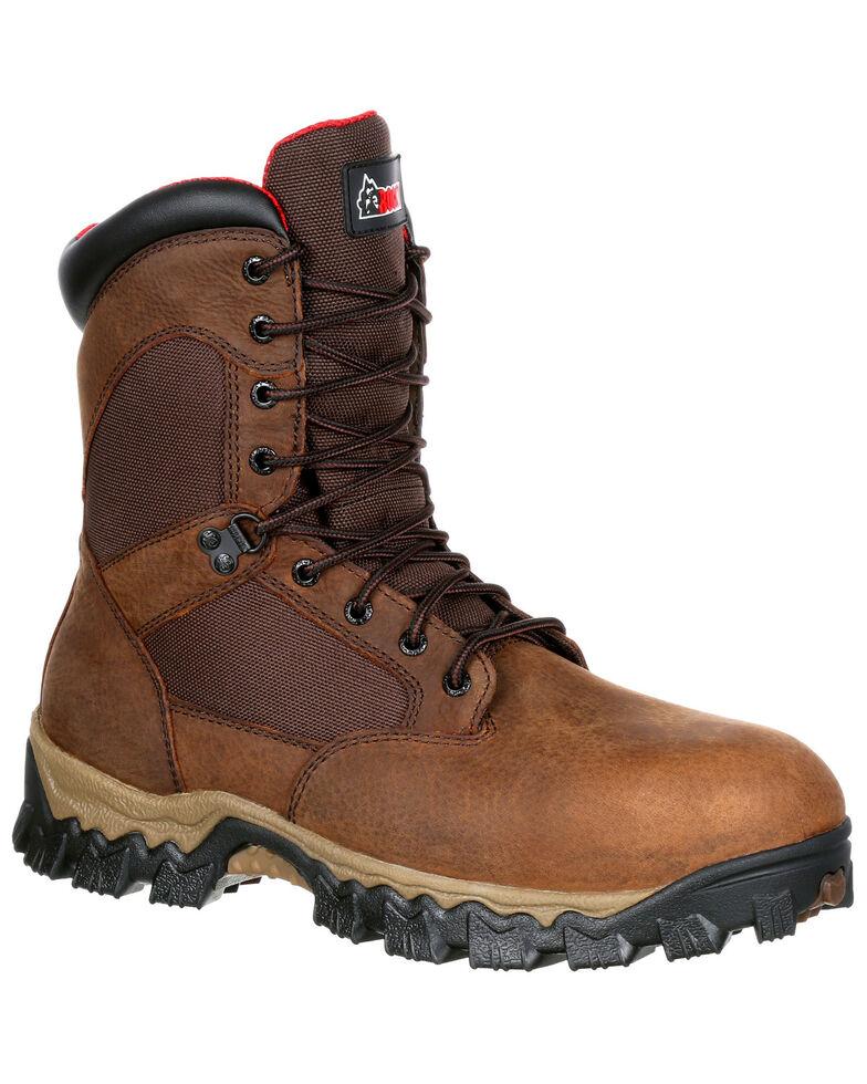 """Rocky Men's Alphaforce Insulated Waterproof 8"""" Work Boots - Composite Toe, Brown, hi-res"""
