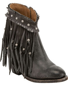 Lucchese Women's Handmade Farrah Beaded Fringe Booties - Round Toe, Black, hi-res