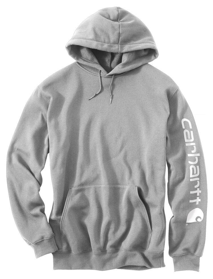 Carhartt Logo Hooded Sweatshirt, Hthr Grey, hi-res