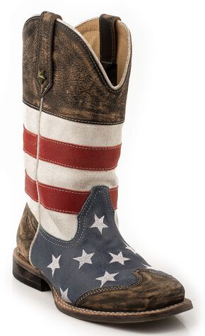 Roper Boys' American Flag Cowboy Boots - Square Toe, Brown, hi-res