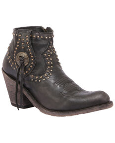 Liberty Black Women's Mossil Negro Western Booties - Round Toe, Black, hi-res
