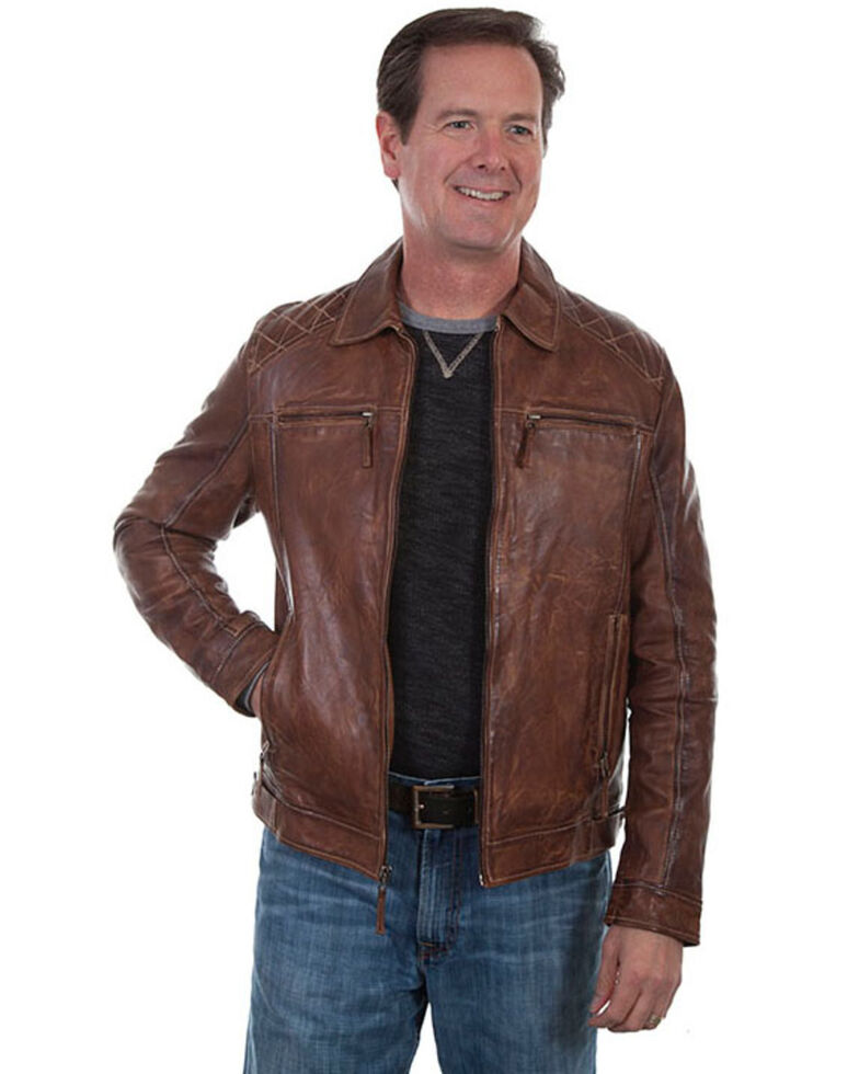 Scully Leatherwear Men's Brown Washed Lamb Leather Jacket - Tall , Brown, hi-res