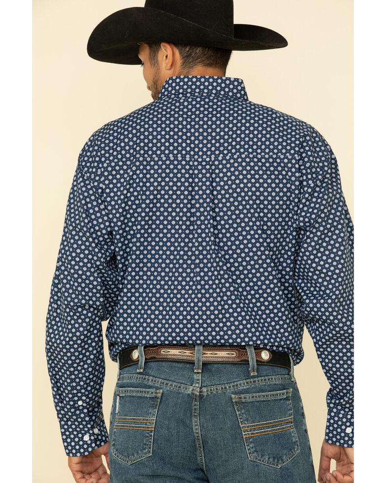 George Strait by Wrangler Purple Geo Print Button Long Sleeve Western Shirt - Big , Purple, hi-res