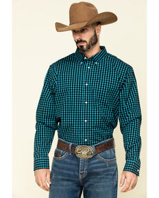 Cody James Core Men's Outlaw Territory Check Plaid Long Sleeve Western Shirt , Black, hi-res