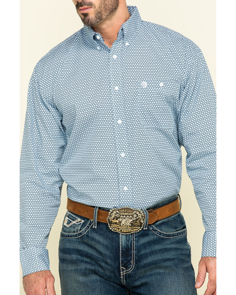 George Strait By Wrangler Men's Purple Diamond Geo Print Long Sleeve Western Shirt - Big , Purple, hi-res