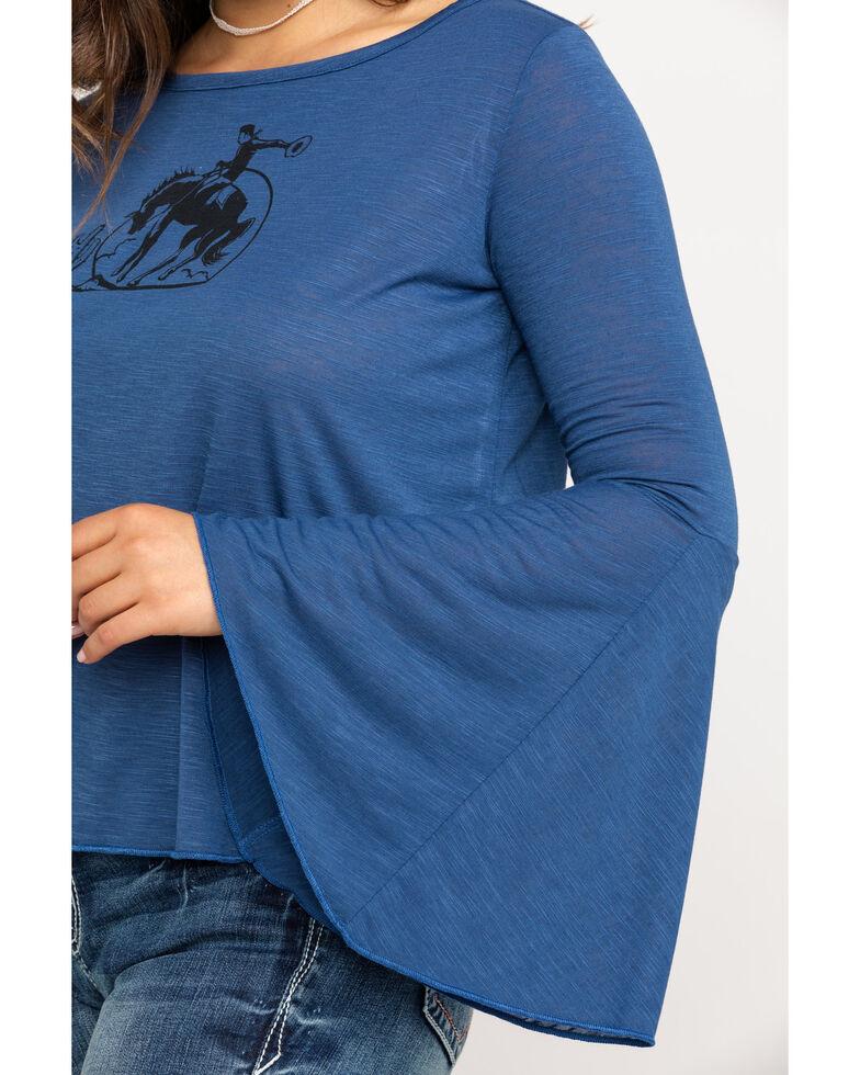 Roper Women's Blue Horse Bell Sleeve Top, Blue, hi-res