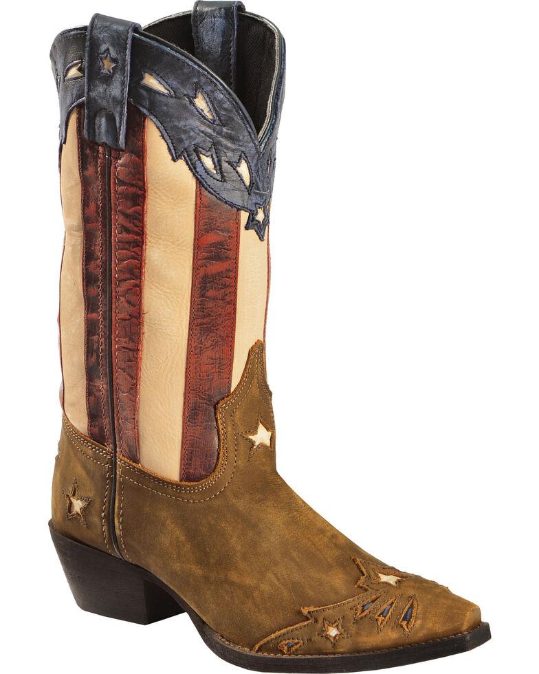 Laredo Women's Keyes Stars & Stripes Cowgirl Boots - Snip Toe, Tan, hi-res