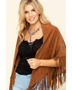 Idyllwind Women's Dancer Faux Suede Fringe Shawl, Brown, hi-res