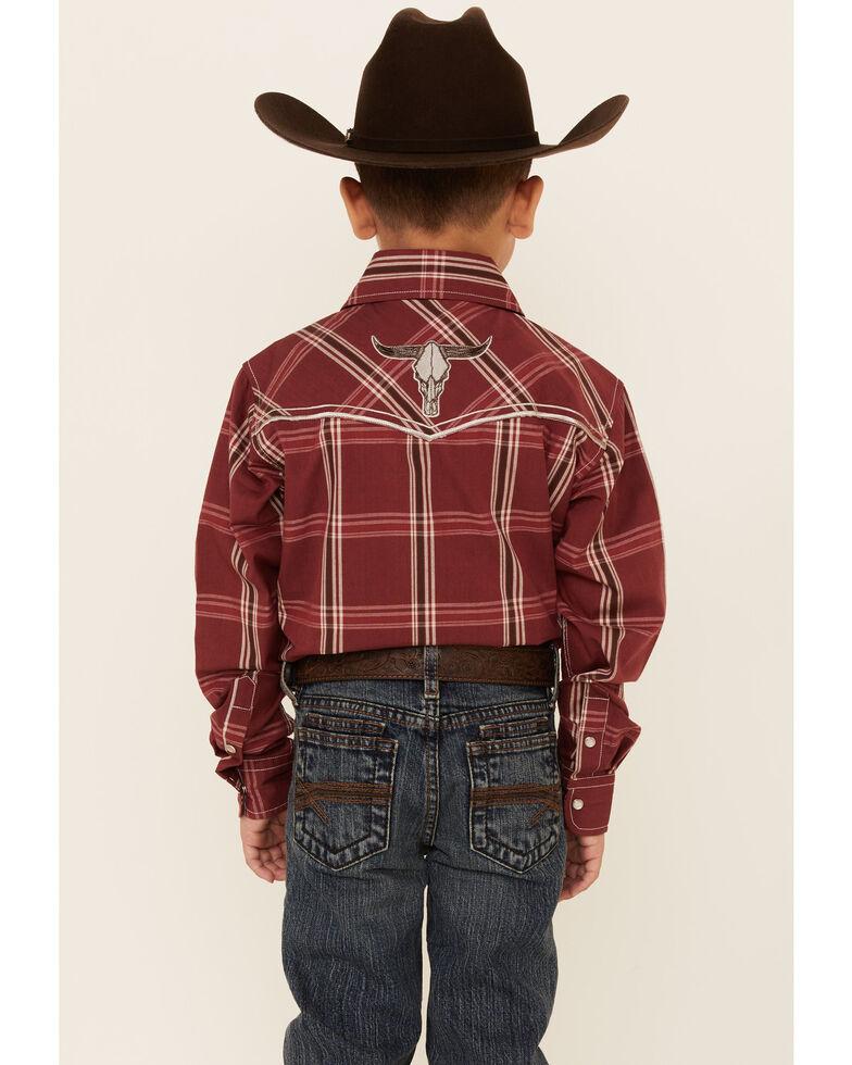 Cowboy Hardware Boys' Burgundy Plaid Embroidered Long Sleeve Snap Western Shirt , Burgundy, hi-res