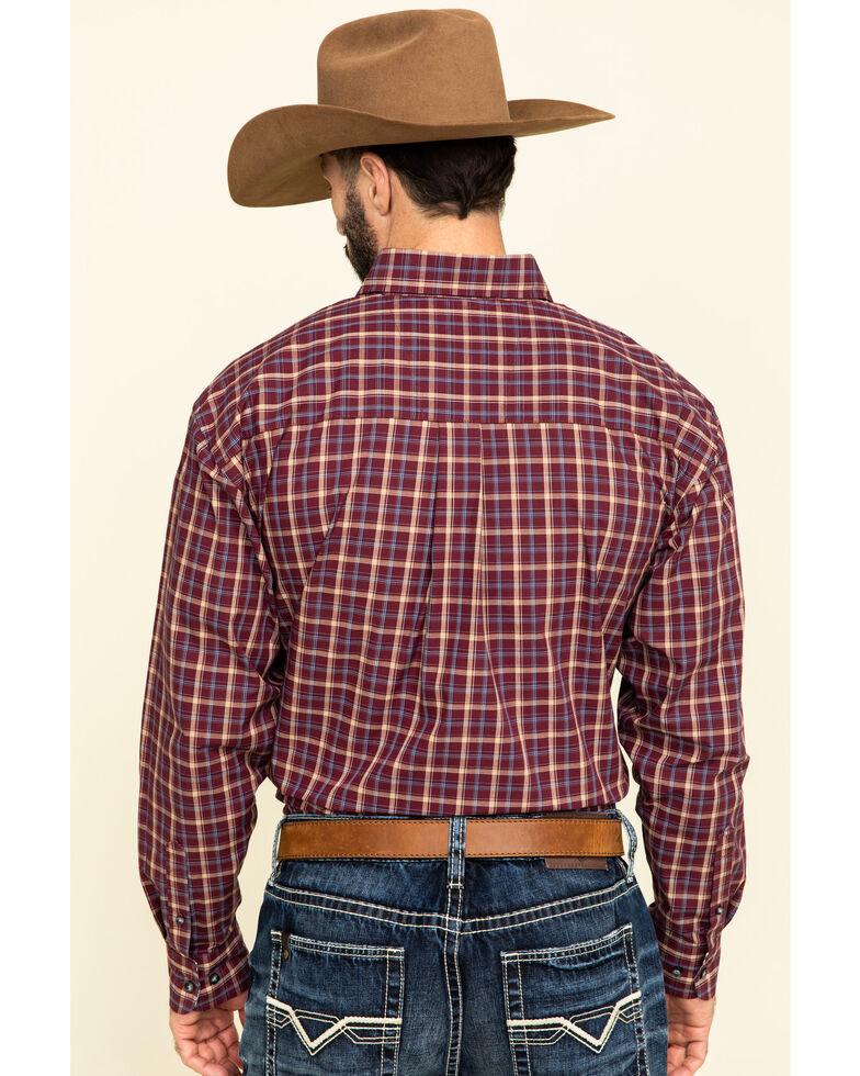 George Strait by Wrangler Men's Burgundy Med Plaid Button Long Sleeve Western Shirt - Tall, Burgundy, hi-res