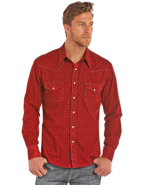 Rock & Roll Cowboy Men's Bleach Washed Poplin Print Long Sleeve Western Shirt , Red, hi-res