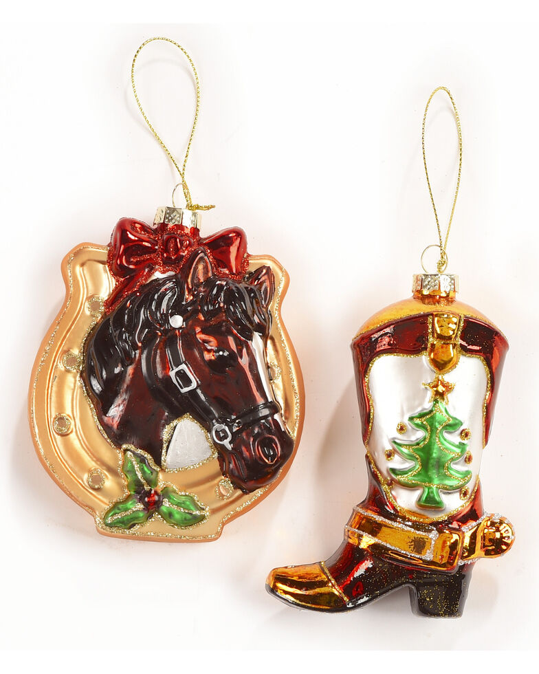 BB Ranch Glass Boot and Horseshoe Ornament Set , Multi, hi-res
