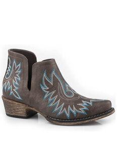 Roper Women's Ava Fashion Booties - Snip Toe, Brown, hi-res