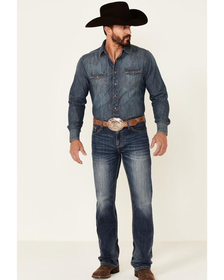 Cinch Men's Ian Dark Stone Wash Slim Bootcut Jeans , Indigo, hi-res