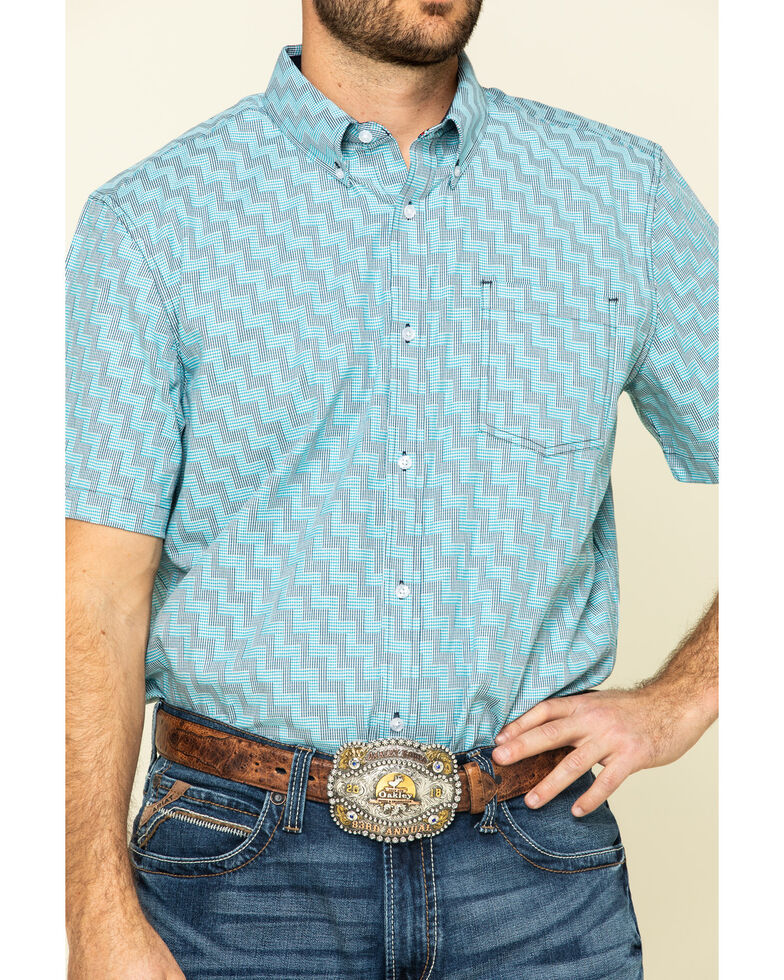 Cody James Core Men's Rodeo Clown Geo Print Short Sleeve Western Shirt - Big , Blue, hi-res