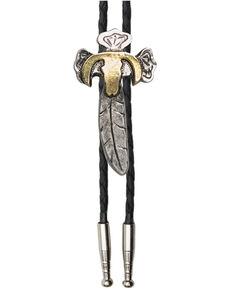Cody James Men's Feather Cross Bolo Tie, Silver, hi-res