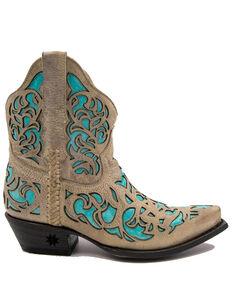 Black Star Women's Terlingua Western Booties - Snip Toe, Tan/turquoise, hi-res