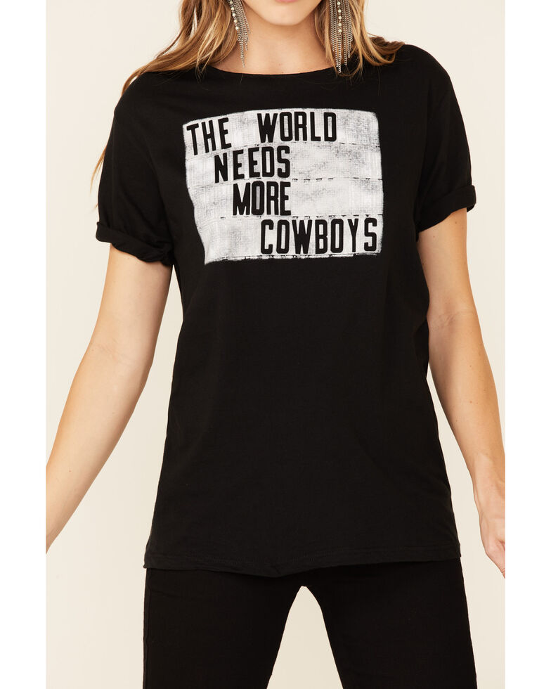 American Highway World Needs More Cowboys Graphic Short Sleeve Tee , Black, hi-res