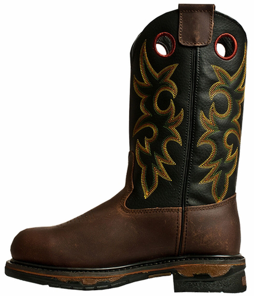 John Deere Men's Western Work Boots - Steel Toe, Tan, hi-res