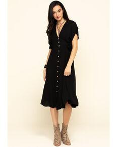 Miss Me Women's Black Button Down Midi Dress, Black, hi-res