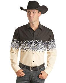 Panhandle Men's Natural Aztec Scenic Border Print Long Sleeve Western Shirt , Natural, hi-res