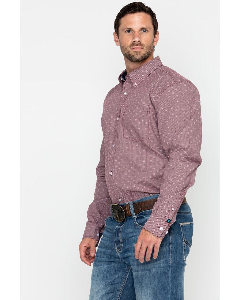 Cody James Core Men's North Star Geo Print Long Sleeve Western Shirt - Tall , Maroon, hi-res