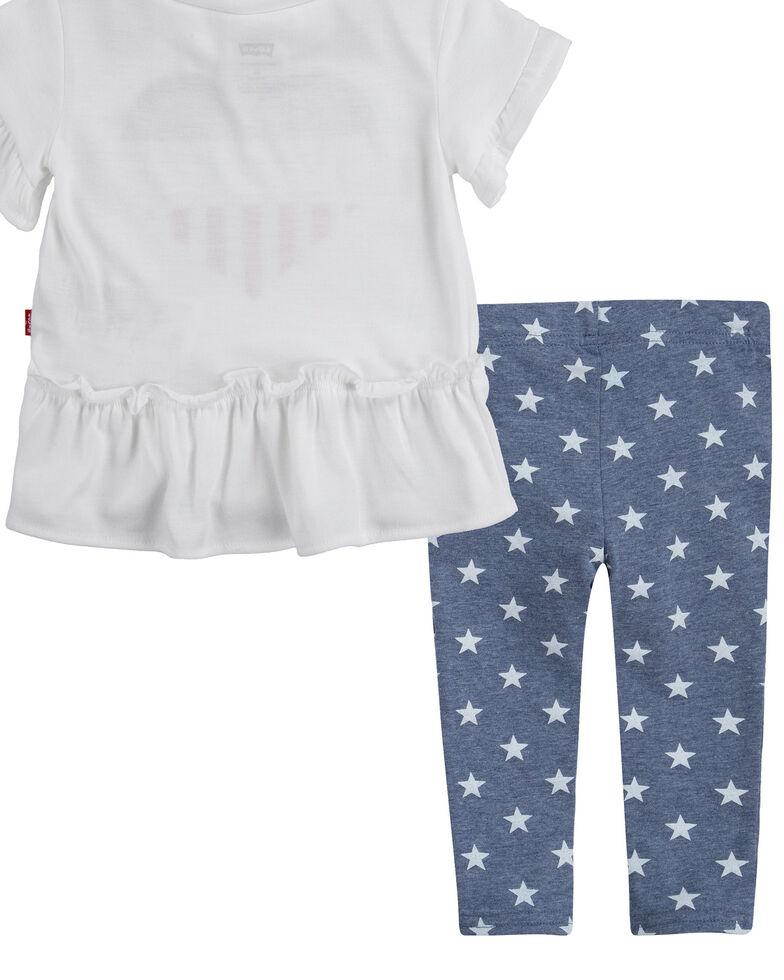 Levi's Infant Girls' White Logo Ruffle Short Sleeve Tee & Star Leggings Set, White, hi-res