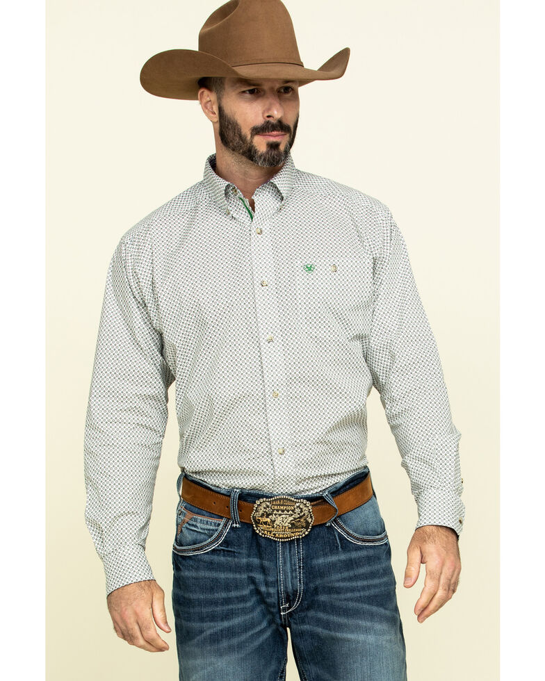 Ariat Men's Relentless Colossal Stretch Geo Print Long Sleeve Western Shirt , White, hi-res