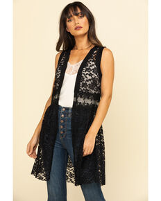 Vocal Women's Black Lace Vest, Black, hi-res