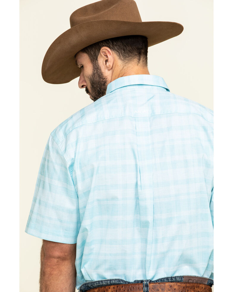 Ariat Men's Neptune Solid Short Sleeve Western Shirt - Tall , Blue, hi-res