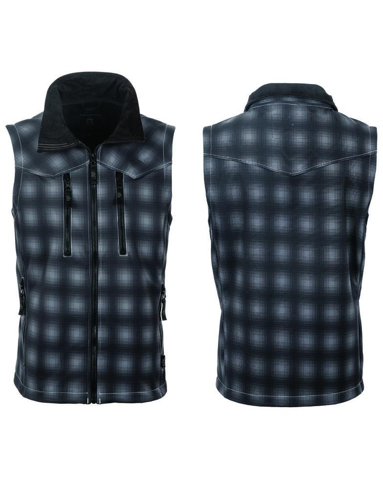 STS Ranchwear Men's Black Plaid Perf Vest - Big , Black, hi-res