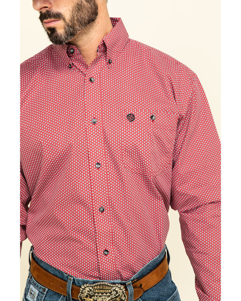 George Strait By Wrangler Men's Red Small Geo Print Long Sleeve Western Shirt , Red, hi-res