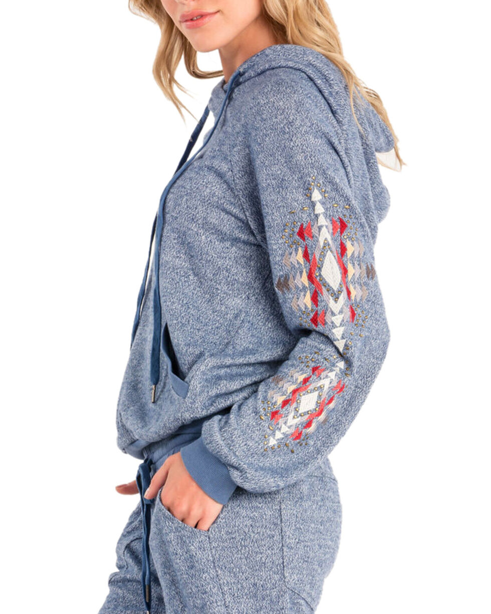 Miss Me Women's Cowl Neck Pullover Hoodie , Blue, hi-res