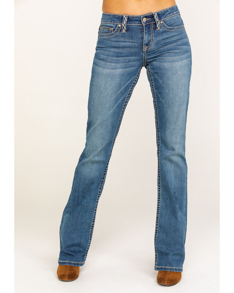 Shyanne Women's Medium Wash Faux Flap Bling Bootcut Jeans, Blue, hi-res
