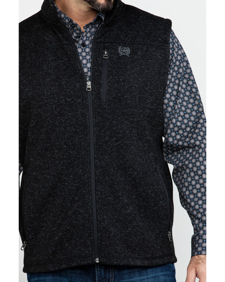 Cinch Men's Full Zip Fleece Sweater Vest , Black, hi-res