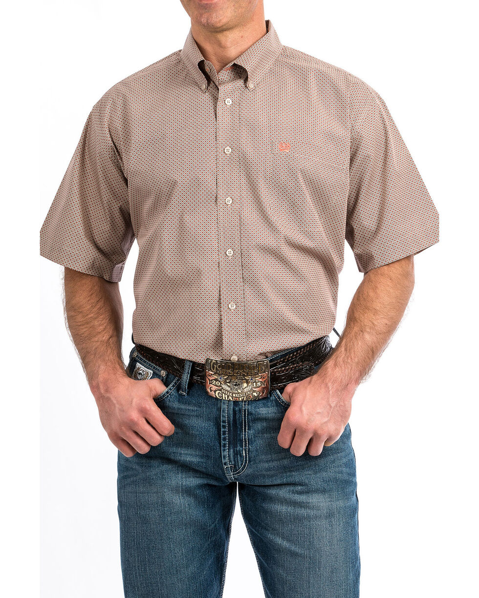 Cinch Men's Grey Geo Print Button Short Sleeve Western Shirt - Big , Heather Grey, hi-res