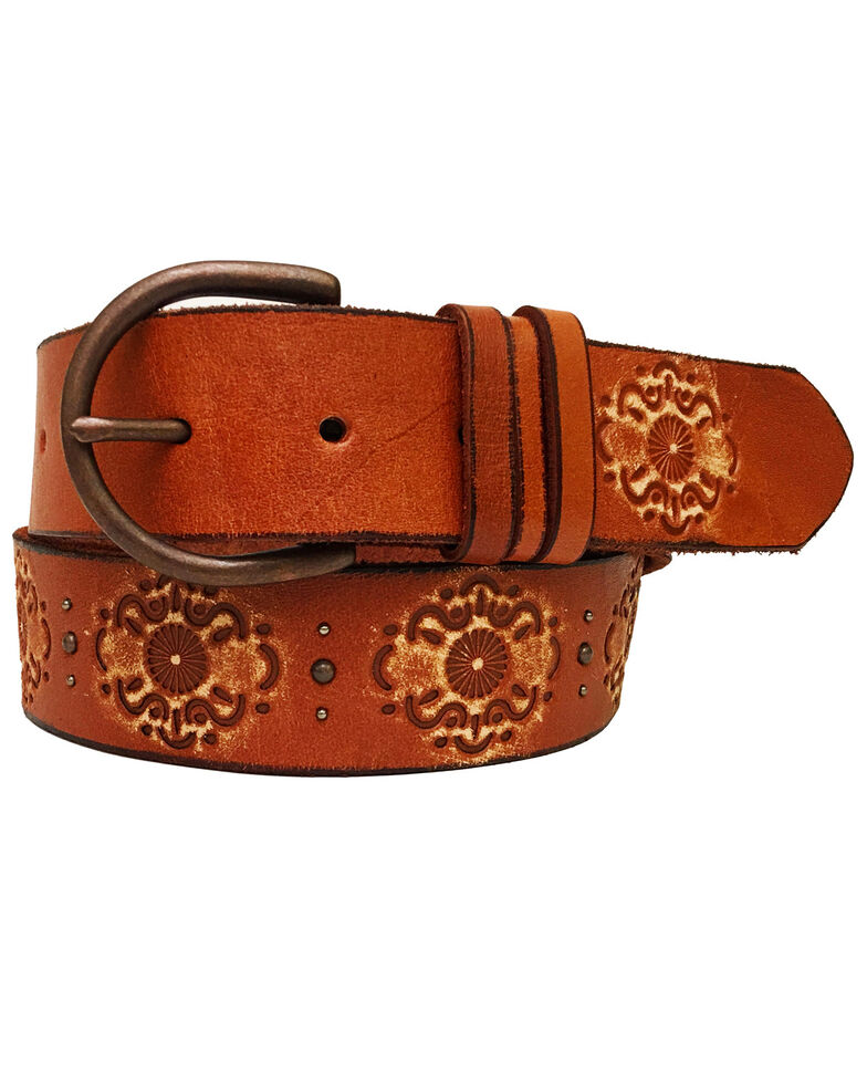 Cowgirls Rock Women's Embossed Studded Leather Belt, Tan, hi-res