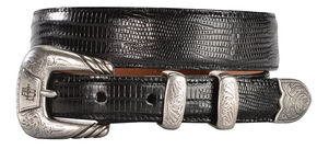 Lucchese Men's Black Lizard Leather Belt, Black, hi-res