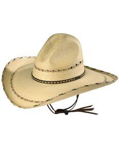 Larry Mahan 30X Pancho Gus Palm Straw Western Hat, Natural, hi-res