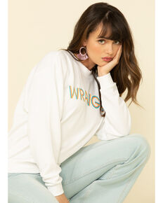 Wrangler Modern Women's White High Rib Retro Logo Pullover, White, hi-res