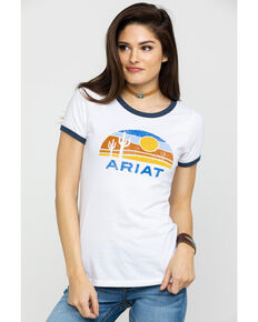 Ariat Women's Retro Desert Ringer Tee , White, hi-res