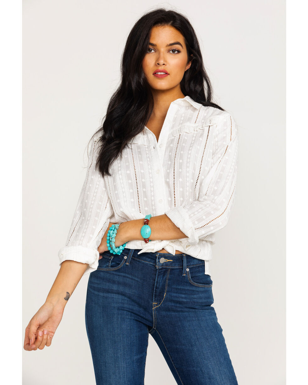 Ariat Women's Daisy Button Front Long Sleeve Western Shirt , White, hi-res