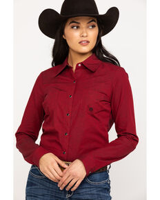 Roper Women's Cross Dye Solid Snap Long Sleeve Western Shirt, Red, hi-res