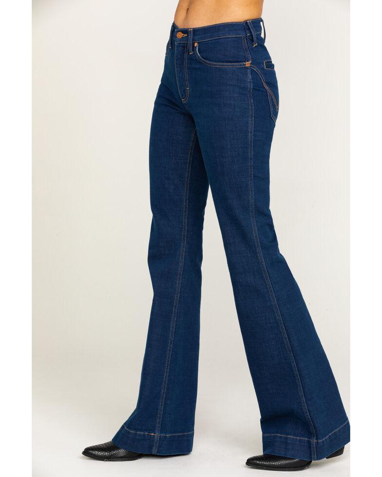 Wrangler Modern Women's Dark Western Yoke Flare River Jeans, Blue, hi-res