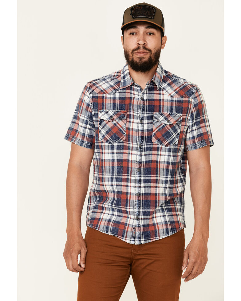 Flag & Anthem Men's Red Westboro Vintage Wash Plaid Short Sleeve Snap Western Shirt , Red, hi-res