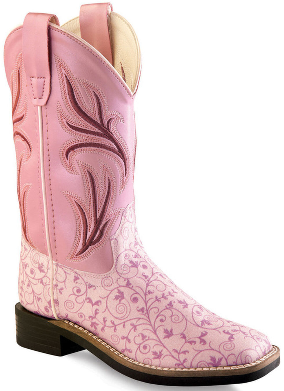 Old West Girls' Pink Scroll Western Boots - Square Toe, Multi, hi-res