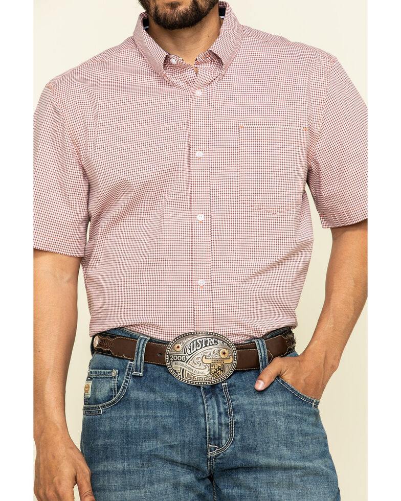 Cody James Core Men's Ring Of Fire Check Plaid Short Sleeve Western Shirt , Coral, hi-res